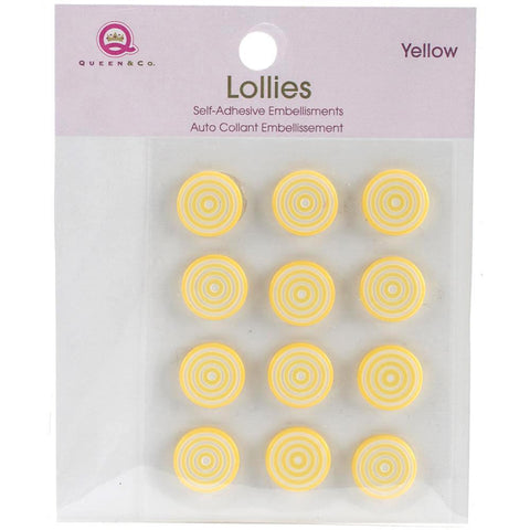 Queen & Co Lollies Self-Adhesive Embellishments 12 pack - Yellow