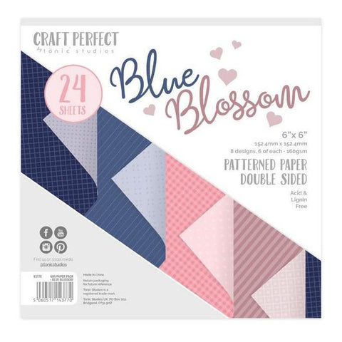 Craft Perfect Luxury Embossed Cardstock 6inch X6inch 24 pack - Blue Blossom