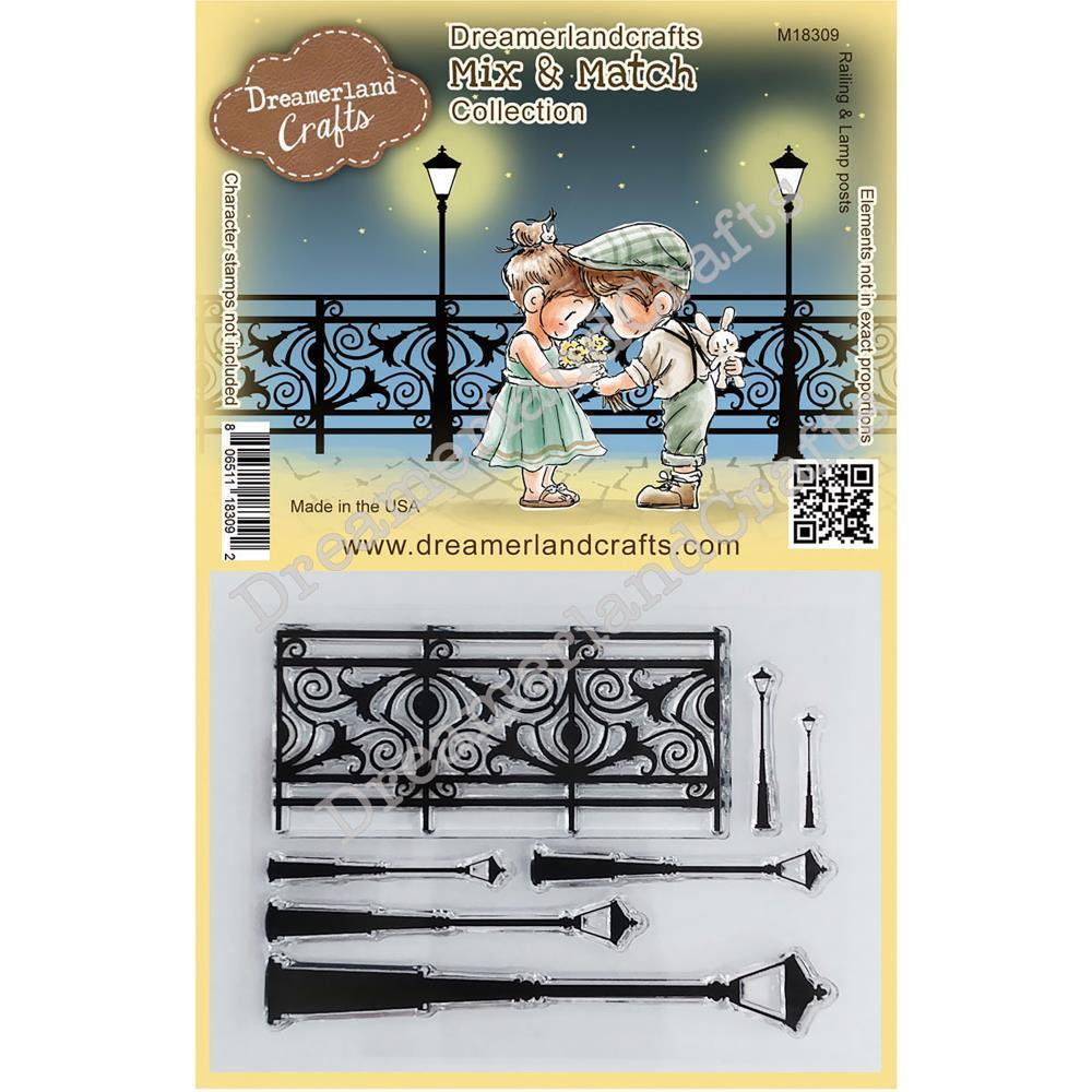 Dreamerland Crafts Mix & Match Clear Stamp Set 4x3 inch - Railing & Lamp Posts