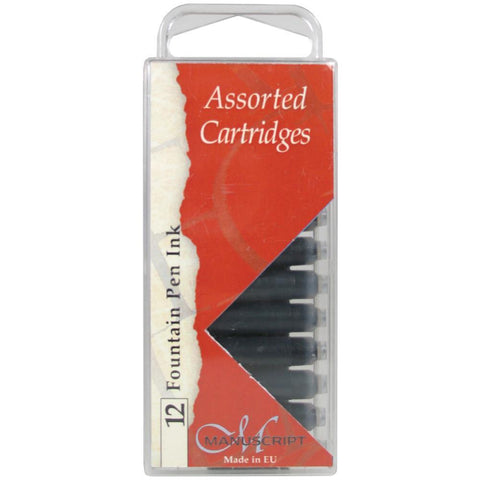 Manuscript Fountain Pen Ink Cartridges 12 pack Black, Blue & Sepia