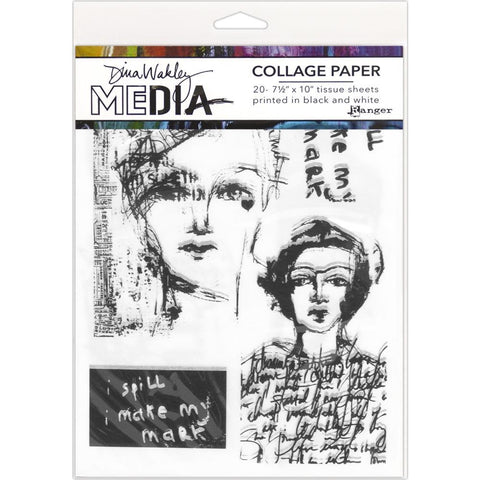 Dina Wakley Media Collage Tissue Paper 7.5inX10in 20 per page