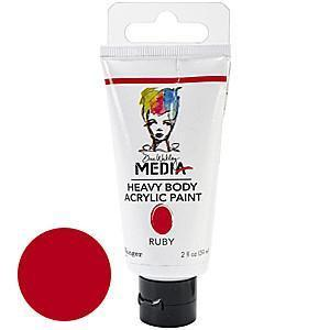 Dina Wakley Media Heavy Body 2Oz Acrylic Paints - Ruby