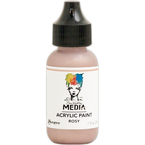 Dina Wakley Media Heavy Body Metallic Acrylic Paint 1oz - Rosy