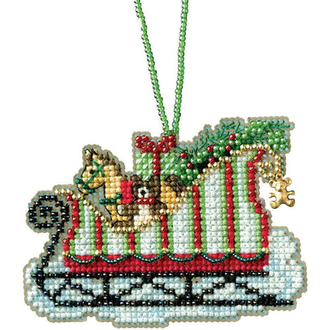 Mill Hill Counted Cross Stitch Kit 3.5x2.25 inch - Toyland Sleigh (14 Count)