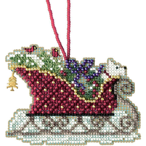 Mill Hill Counted Cross Stitch Kit 3.5x2.5 inch - Evergreen Sleigh (14 Count)