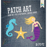 Momenta Iron On Embroidered Applique - Mermaid, Starfish & Seahorse 3 pack