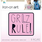 Momenta Iron On Applique - Girlz Rule, Pink