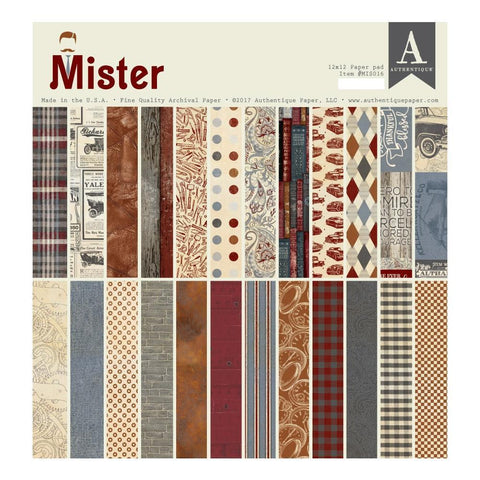 Authentique D/S Cardstock Pad 12x12 inch 24 pack - Mister
