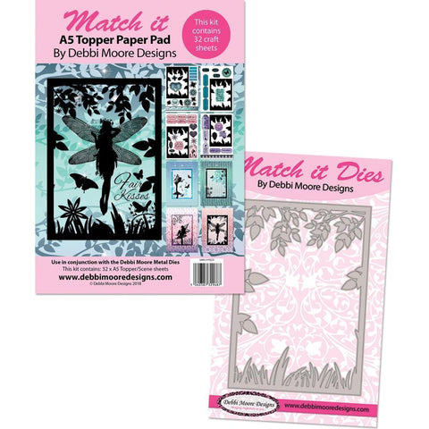 Debbie Moore Match It Enchanted Realm Metal Die & A5 Pad - Fairies Scene
