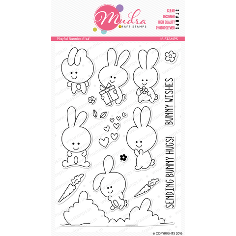 Mudra 6x4 inch Stamp Set - Playful Bunnies