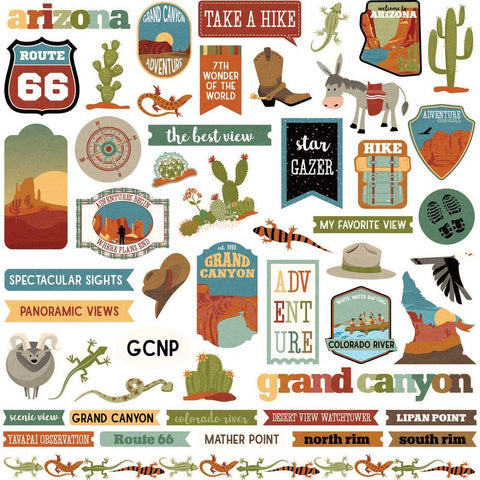 PhotoPlay - National Parks Grand Canyon Stickers 12in x 12in - Elements