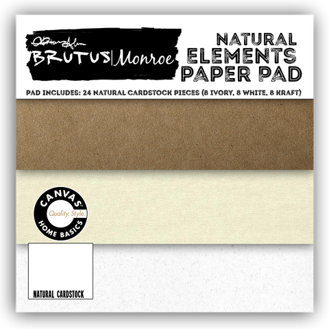 Brutus Monroe Solid Paper Pad 6X6 24 pack Natural Elements Ivory, Kraft, White/8ea