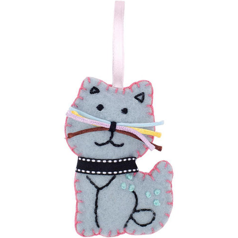 Fabric Editions Needle Creations Felt Ornament Kit Blue Cat
