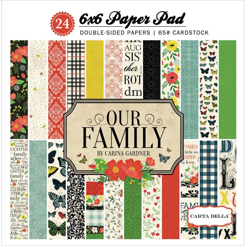 Carta Bella 6x6 Inch D/S Paper Pad - Our Family 24 Pk