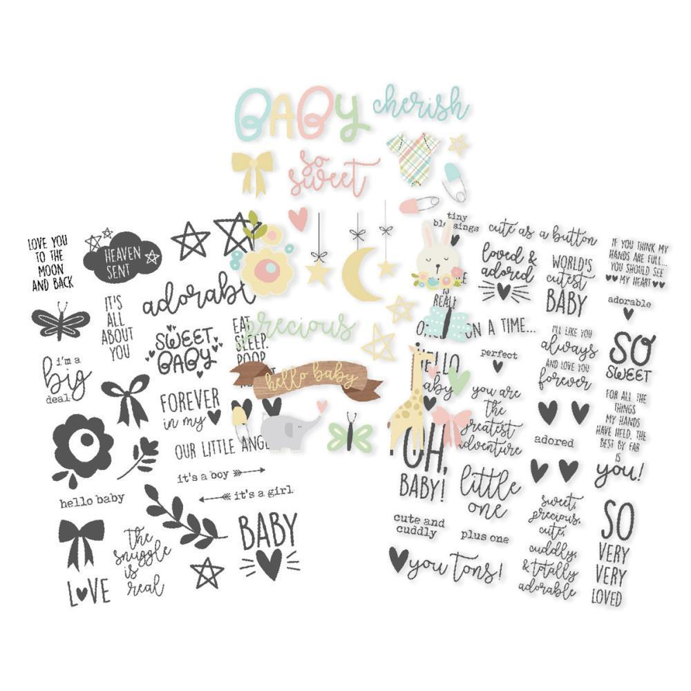 Simple Stories - Clear Stickers 4 inch X6 inch 3 pack (1) Colour, (2) Black- Oh Baby!