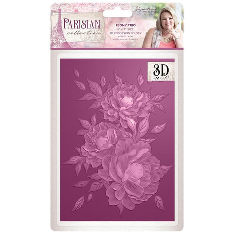 Crafters Companion - Parisian Embossing Folder 5x7 inch - Peony Trio