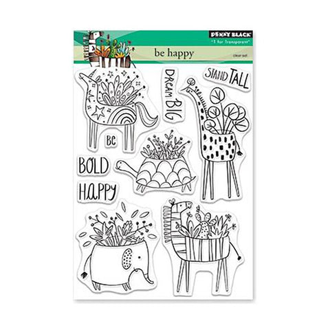 Penny Black Clear Stamps - Be Happy 5x6.5 inch