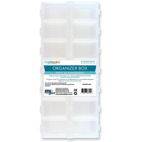 Multicraft Imports - Organiser Box with Snap Lids 14 Compartments - 9 inch X4 inch X1 inch