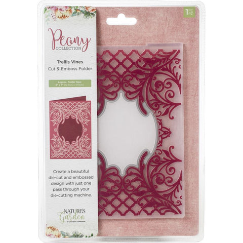 Crafter's Companion - Nature's Garden Peony Cut and Emboss Folder 5in x 7in - Trellis Vines