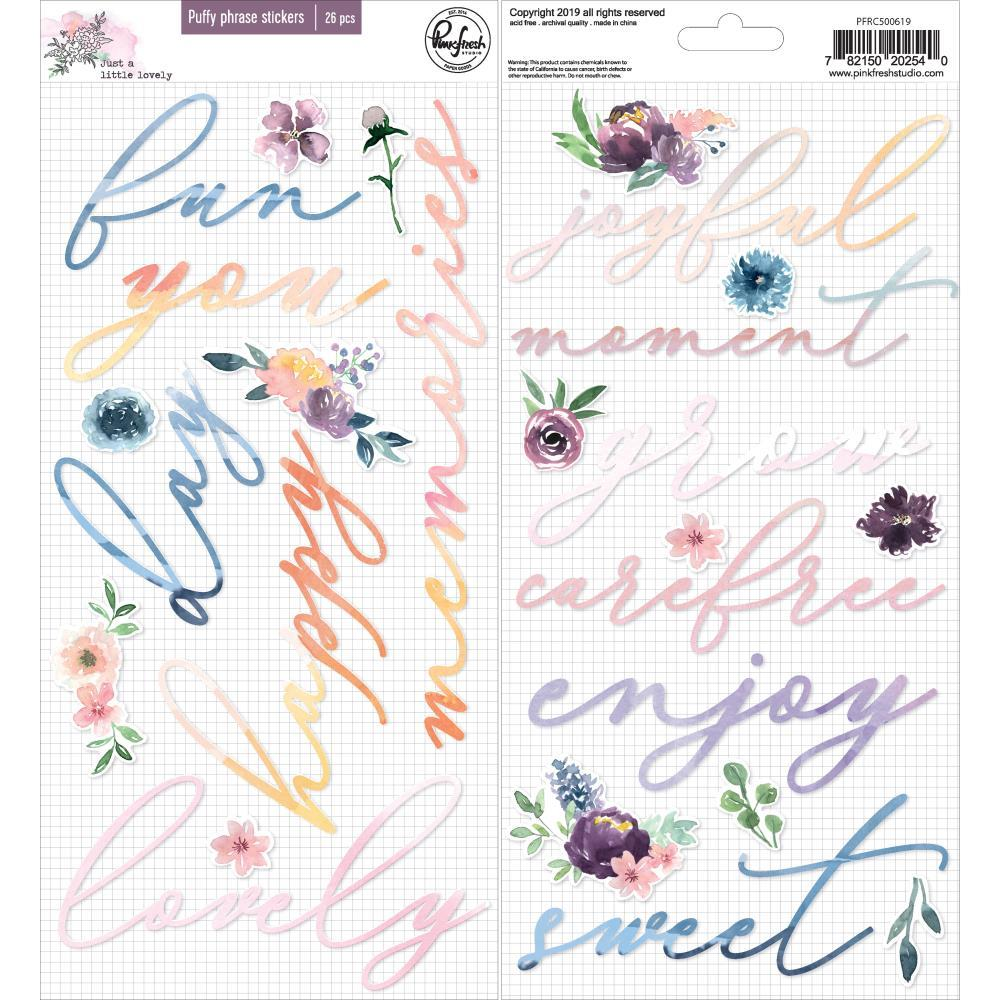Pinkfresh Studio - Puffy Phrase Stickers - Just A Little Lovely, 26 pack