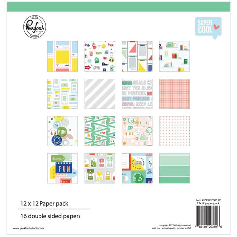Pinkfresh Studio Double-Sided Paper Pack 12in x 12in 16 pack Super Cool