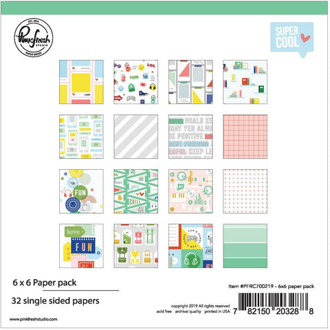 Pinkfresh Studio Single-Sided Paper Pack 6in x 6in 32 pack - Super Cool