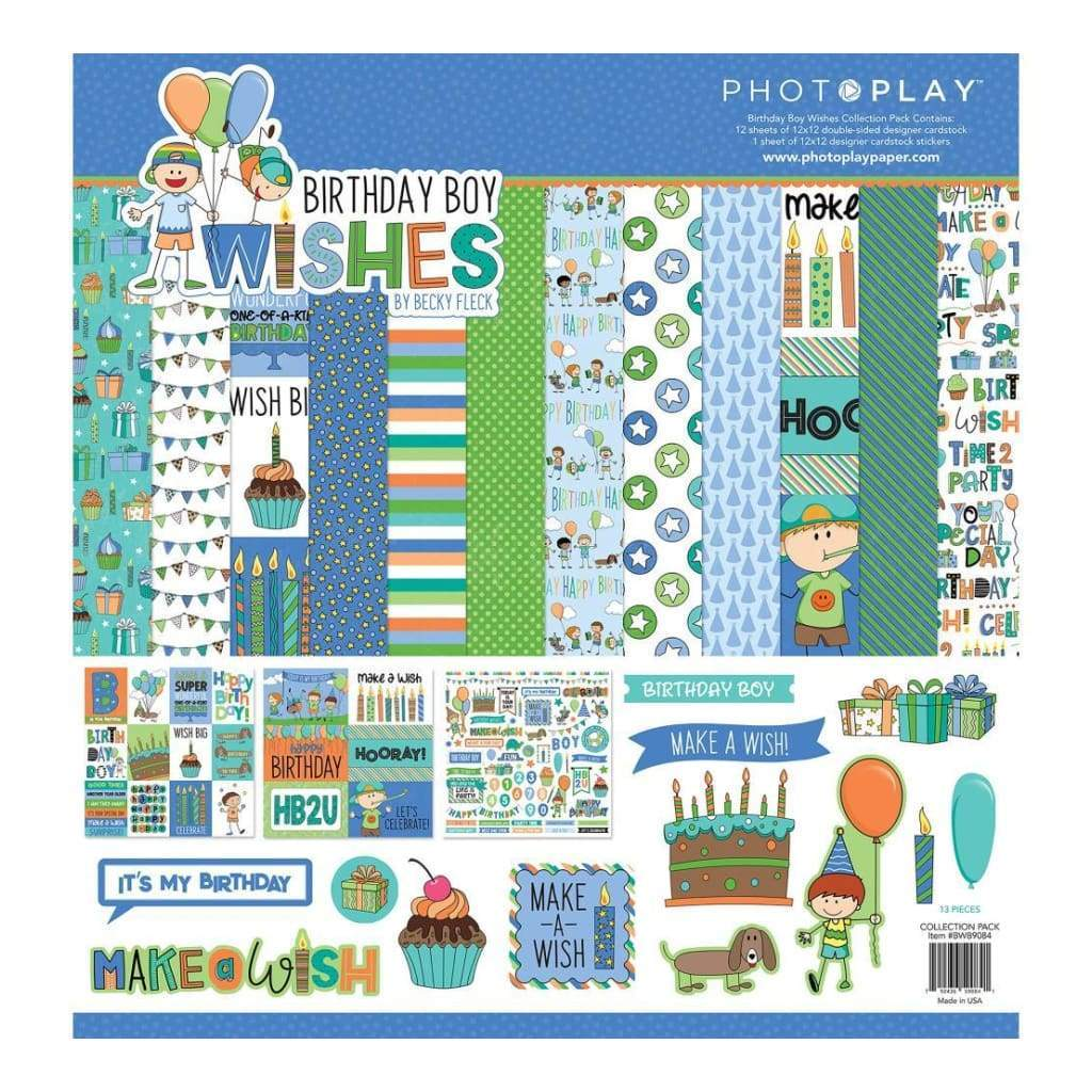 PhotoPlay Collection Pack 12x12 inch - Birthday Boy Wishes