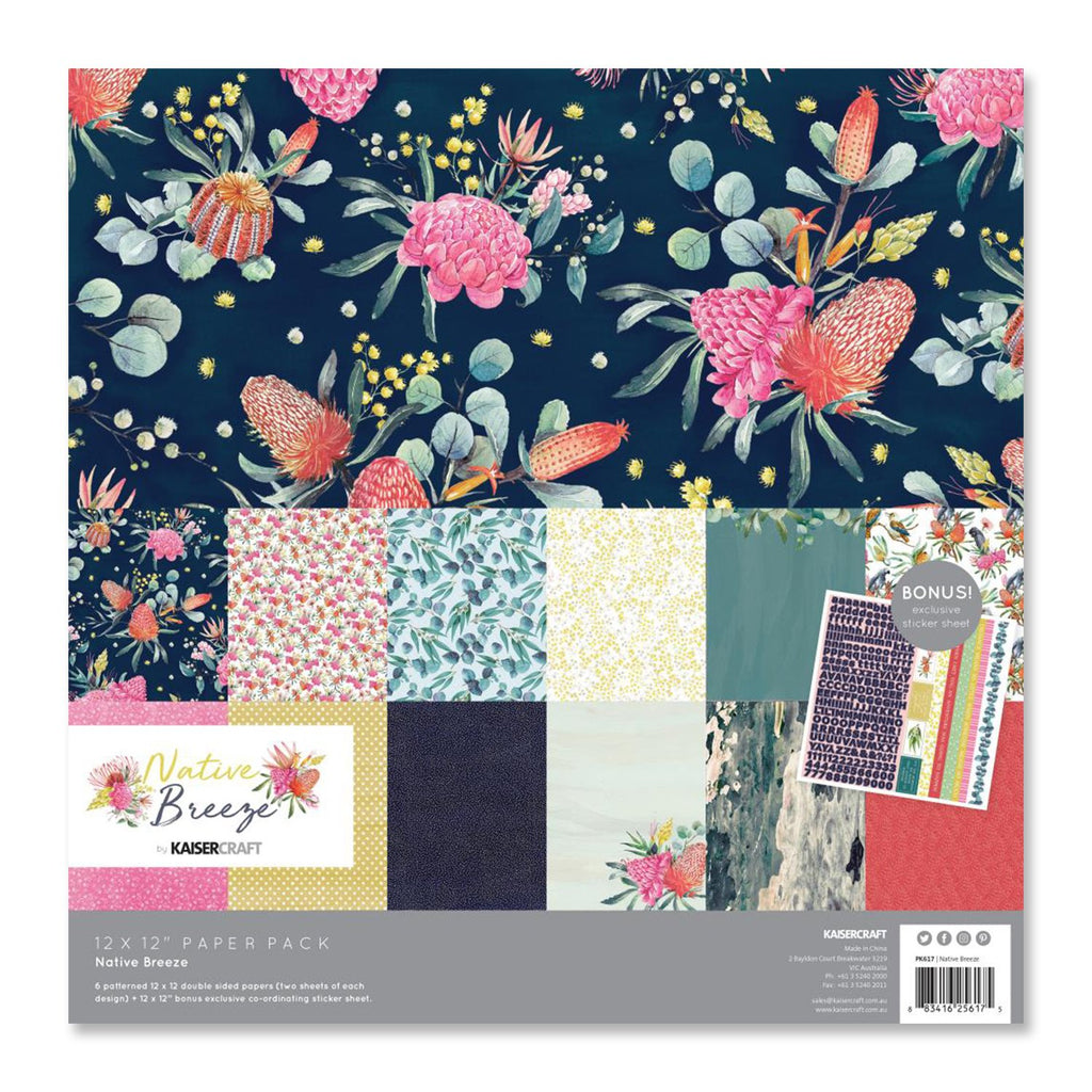 Kaisercraft - Native Breeze Paper Pack 12in x 12in,  12 pack