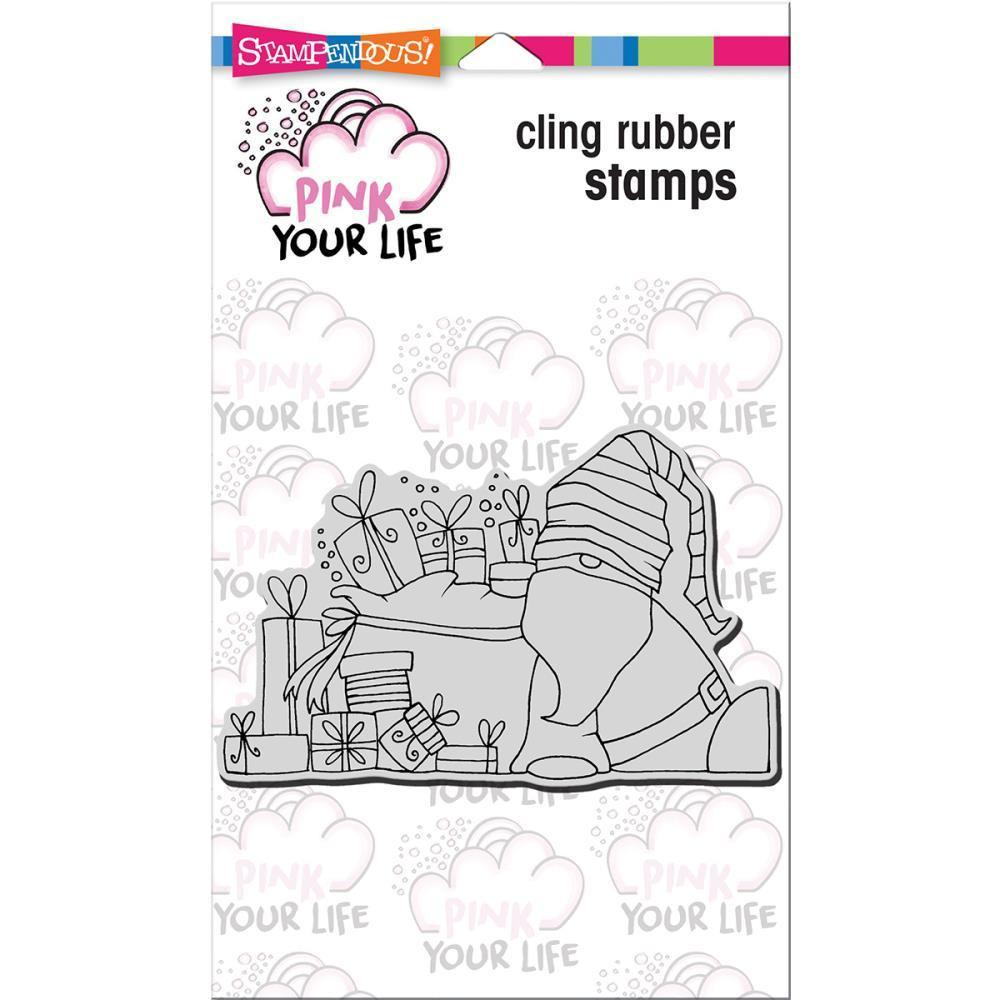 Stampendous Pink Your Life Cling Stamp 6.5 inch X4.5 inch Whisper Friends-Santa Resting