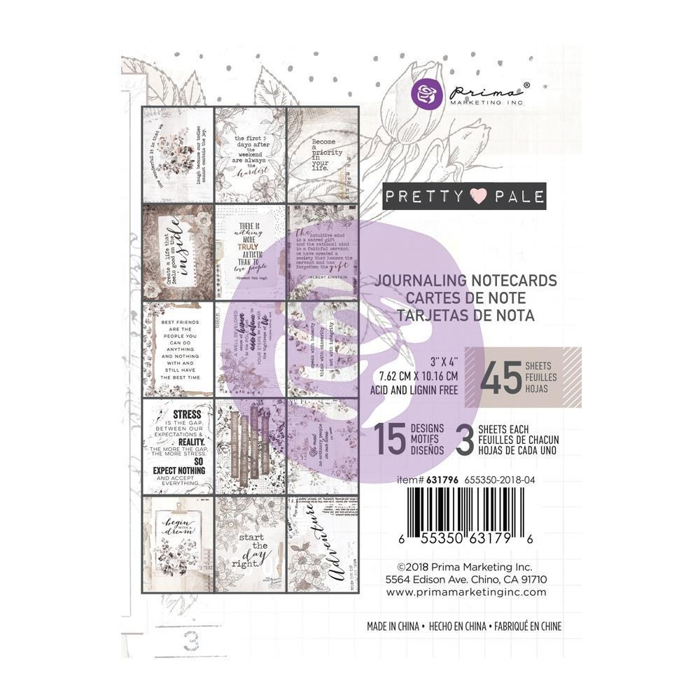 Prima Marketing Pretty Pale - Journaling Cards Pad 3x4 inch 45 pack