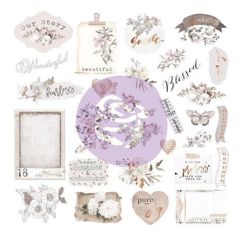 Prima Marketing Pretty Pale - Ephemera Cardstock & Acetate Die-Cuts 40 pack with Foiled Accents