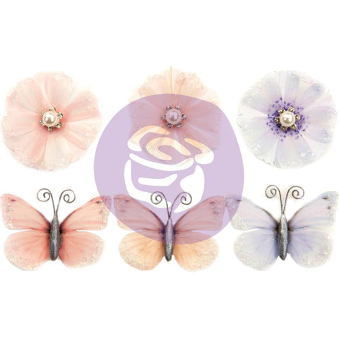 Prima Marketing Poetic Rose Paper Flowers 6 pack - Unique Poems with Butterflies