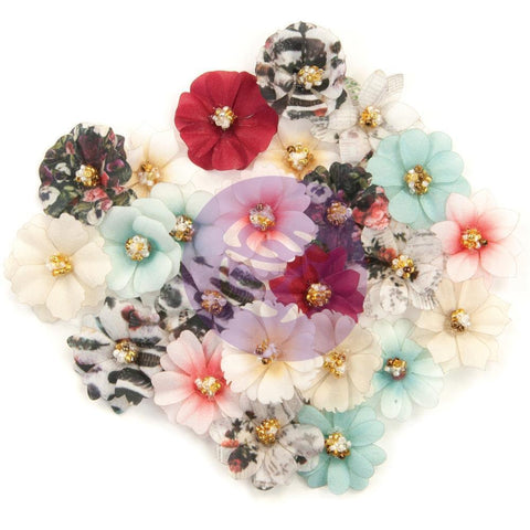 Prima Marketing Midnight Garden Fabric Flowers 24 pack - This Place