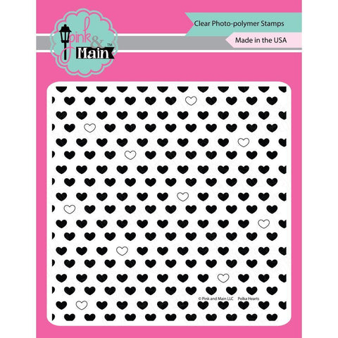 Pink & Main Clear Stamps 6x6 inch - Polka Hearts