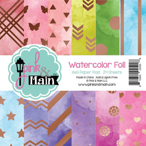 Pink & Main Double-Sided Paper Pad 6 inch X6 inch 24 pack Watercolour Foil, 12 Designs/2 Each