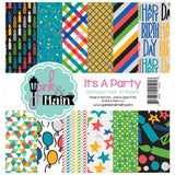 Pink & Main Double-Sided Paper Pad 6 inch X6 inch 24 pack Its A Party, 12 Designs/2 Each