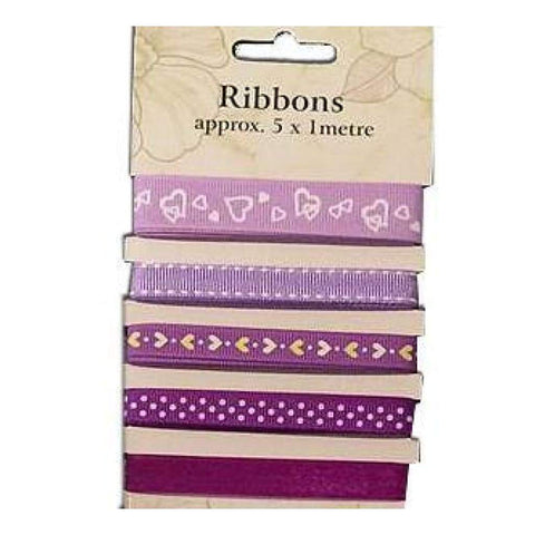 Poppy Crafts Ribbons - Violets - 5 Ribbons