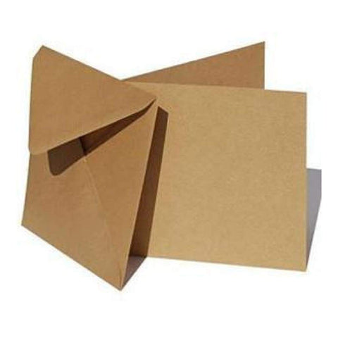 Poppy Crafts 300 Gsm Square Cards And Envelopes - Kraft