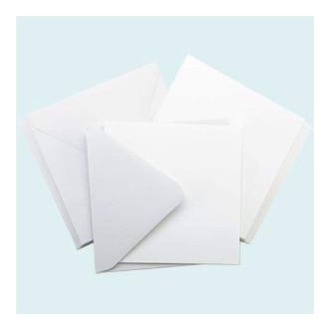 Poppy Crafts 300 Gsm Premium Square Cards And Envelopes - White 20 pcs