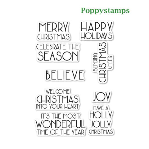 Poppystamps - Art Deco Celebrate Christmas clear stamp set