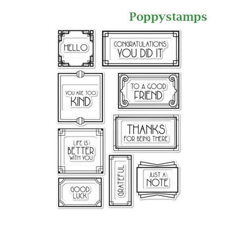 Poppystamps - Art Deco Frames and Phrases clear stamp set