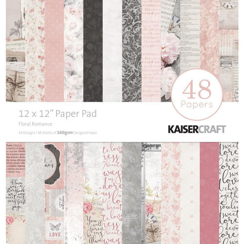 Kaisercraft Paper Pad 12x12 inch 48 pack - Floral Romance
