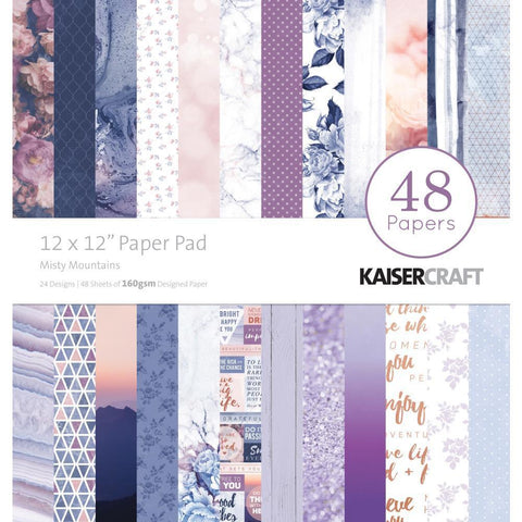 Kaisercraft Paper Pad 12x12 inch 48 pack - Misty Mountains