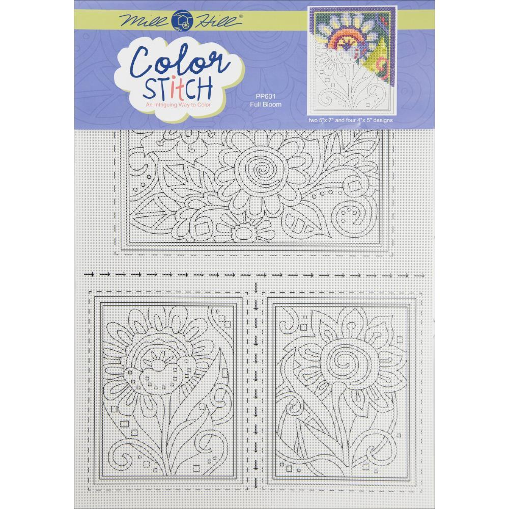 Mill Hill Painted Perforated Paper (2) 5 inch X7 inch (4) 4 inch X5 inch 6 pack Full Bloom (14 Count)