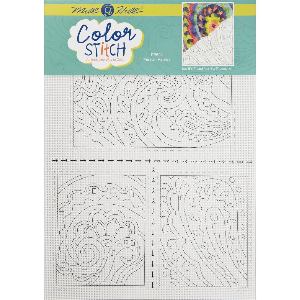 Mill Hill Painted Perforated Paper (2) 5 inch X7 inch (4) 4 inch X5 inch 6/Pk Persian Paisley (14 Count)