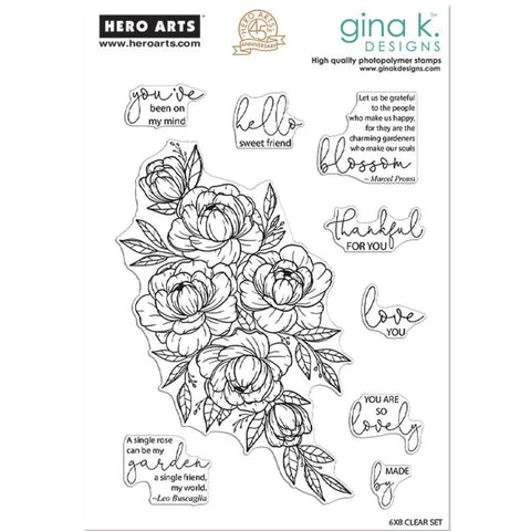 Hero Arts + Gina K 6inch X8inch Stamp Set Friendship Blooms