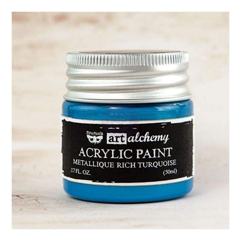 Prima - Finnabair Art Alchemy - Metallique Acrylic Paint - Rich Turquoise