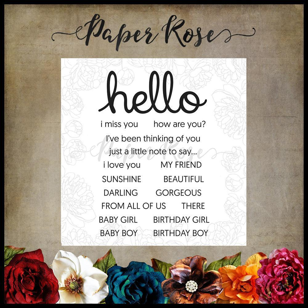 Paper Rose Studio Clear Stamp Set - Hello 17304
