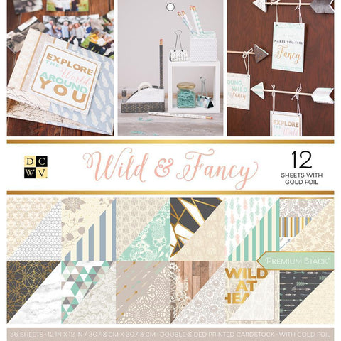 DCWV Paper Stack Double-Sided 12 inch X12 inch 36 pack Wild & Fancy, 12 with Gold Foil