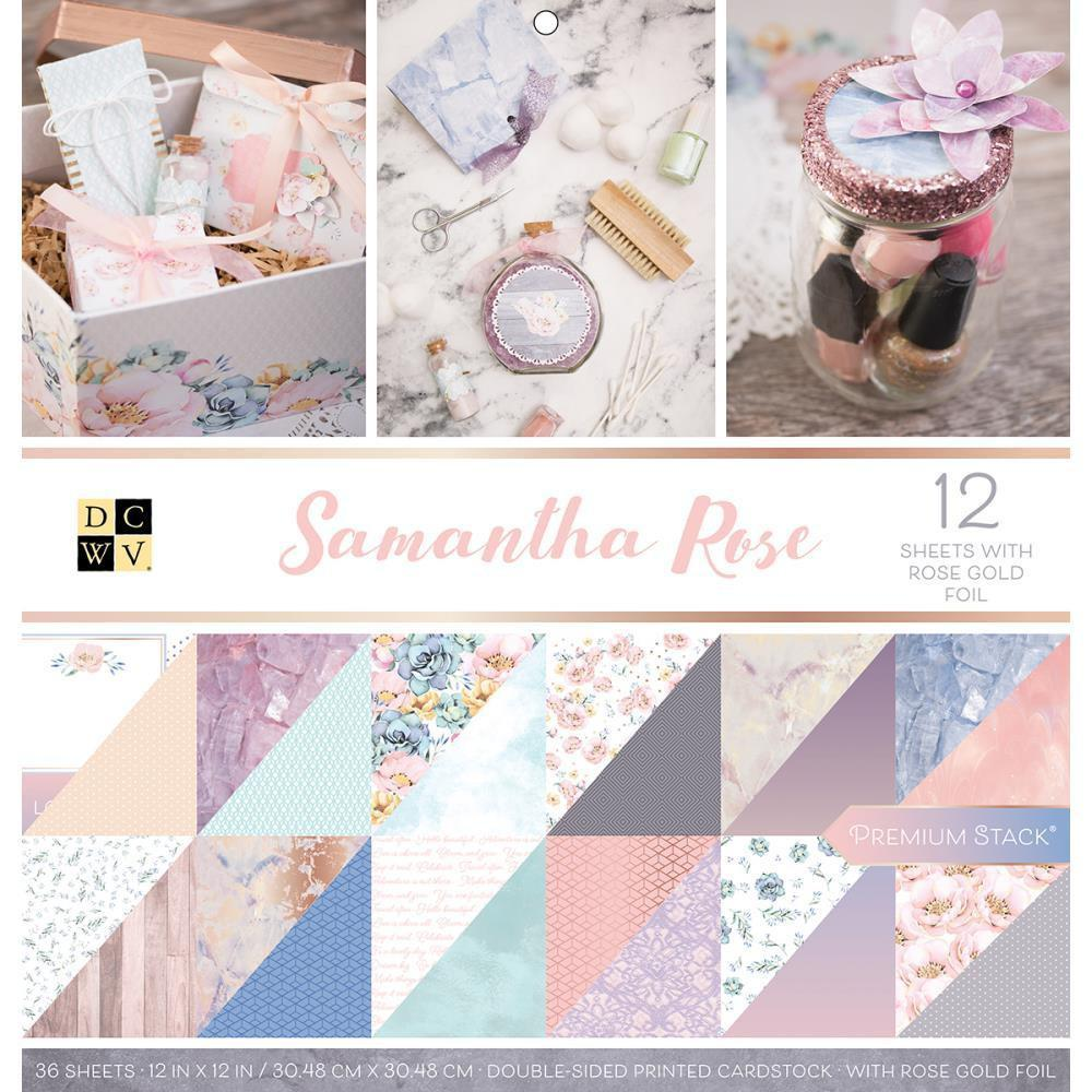 DCWV Paper Stack Double-Sided 12 inch X12 inch 36 pack Samantha Rose, 12 with Rose Gold Foil